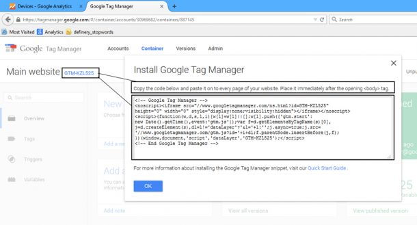 Tag code from Google Tag Manager