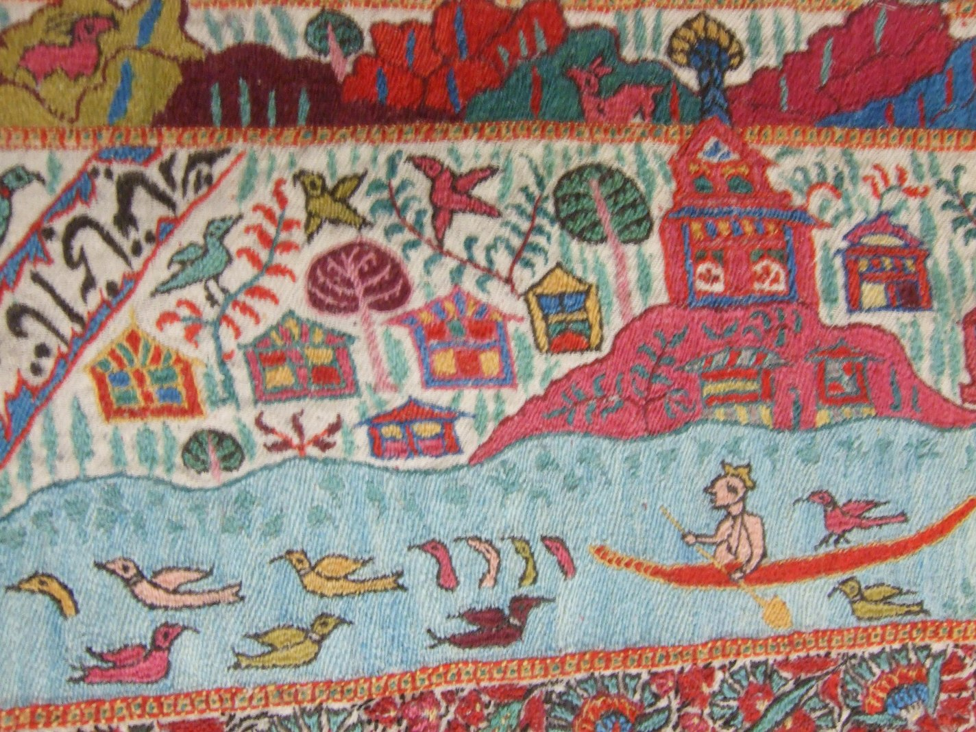 Detail from embroidered wool map-shawl, Kashmir, India, third quarter of the 19th century, Museum Number IS.31-1979 © Rosie Wanek