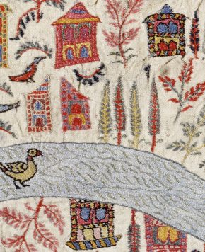 Detail from embroidered wool map-shawl, Kashmir, India, third quarter of the 19th century, Museum Number IS.31-1979 © Victoria and Albert Museum, London