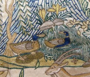 Detail of a pair of ducks on an embroidered coat, Mughal India, c.1620-25, Museum number IS 18-1947 © Victoria and Albert Museum, London