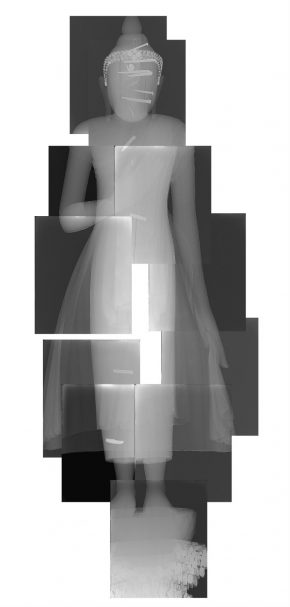 X-ray photographs taken from the front mapped together to see the whole figure.
