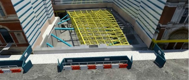 Visualisation of steelwork spanning the site