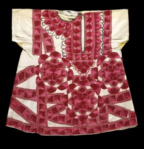 49-1908 Child`s dress; cotton embroidered with floss silk;  Sindh, (Badin?);  c.1900.