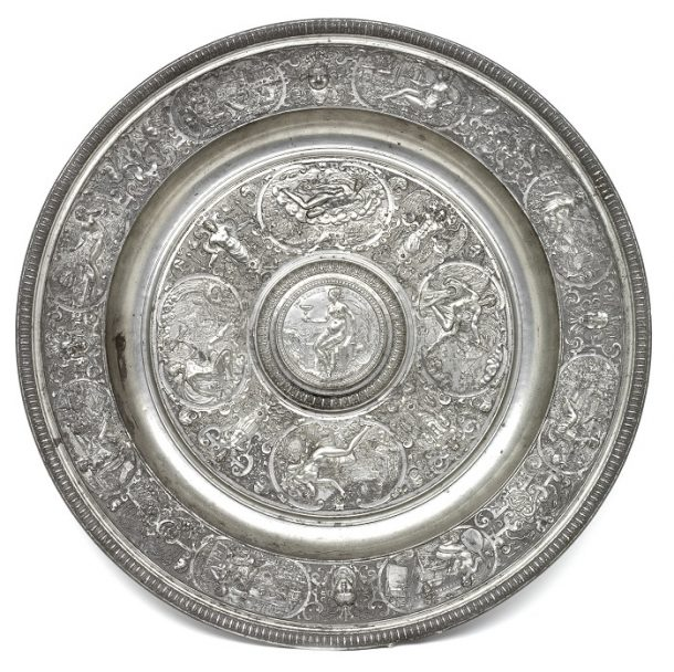 Temperantia Basin of circa 1585, cast in pewter from a mould by Francois Briot of Montbeliard, France and acquired by the Victoria and Albert Museum in 1855 for the sum of £19. Mus. No. 2063-1855