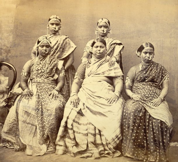 Group of women from Madras, showing way in which jewellery is worn (ASI 1870)