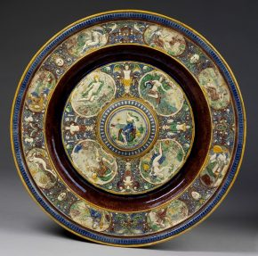 Temperantia Basin, of 1869, earthenware, Georges Pull, Vaugirard, France. Mus. No. 1080-1871