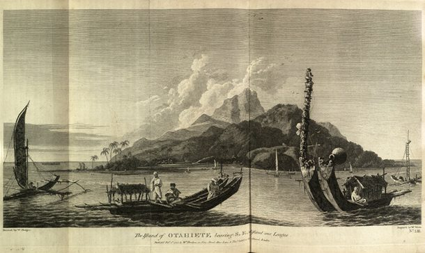 View of the natural harbour at Otahiete (Tahiti)
