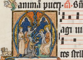 8997a. Leaf from a Dominican Antiphoner, with historiated initial A - Adoration of the Magi.  Netherlandish; ca 1300. © V&A Museum