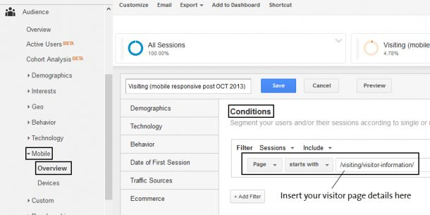 Showing the advanced segment menu in Google Analytics