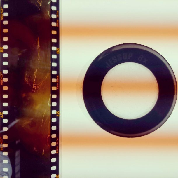 Film strip created by winding the roll as the shutter is open
