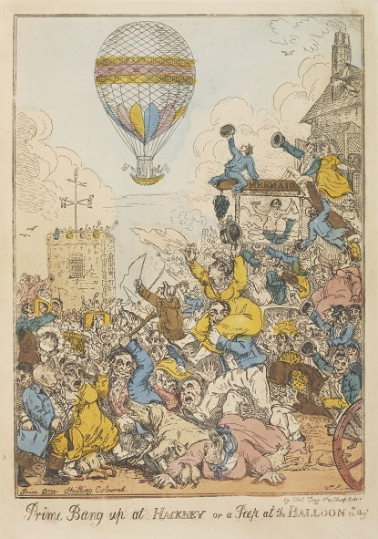 'Prime Bang up at Hackney or a Peep at the Balloon', hand-coloured etching by William Elmes, 1811. Museum no. E. 4768-1923