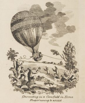 Engraved vignette of the balloon's descent, detail from museum no. E. 4748-1923