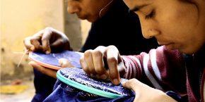 Women working on Sujani inspired fabric for Swati Kalsi