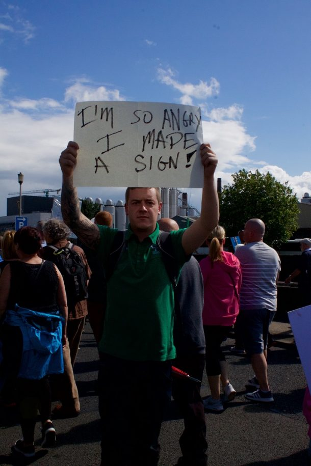 Protester on the August 29th march, Dublin Quays. (Photo: Eimer Murphy)