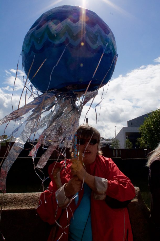 Eileen Stephens and her home made water symbol, Dublin, 29 August 2015. (Photo; Eimer Murphy)