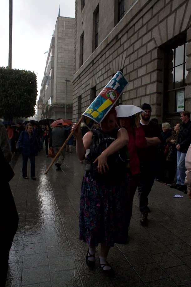 Rain ends play; O Connell Street, Dublin 29 August 2015. (Photo; Eimer Murphy)