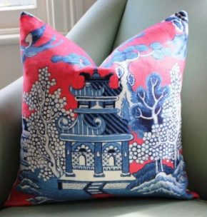 lee jofa willow pattern chinoiseroe pillow cover, etsy