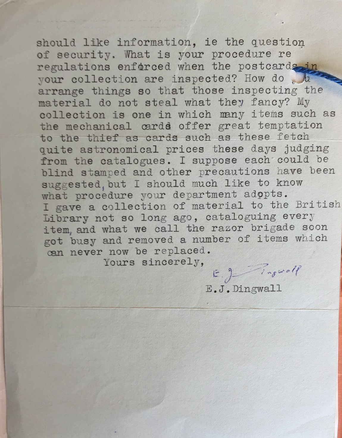 Letter from E.J. Dingwall to V&A, AAD: MA/1/D1182