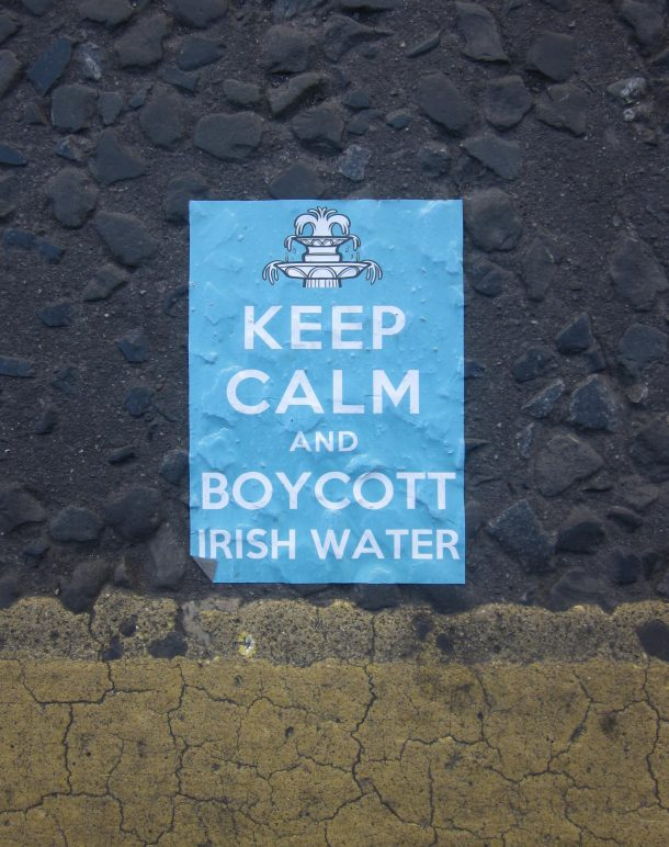 Topical water protest sticker, spotted in The Liberties, Dublin, 06 August, 2015. (Photo; Eimer Murphy)