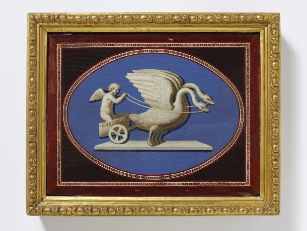 Amor in a chariot, Rome, 1800; in 20th century giltwood frame; one of a pair; 20.3x27.9cm Ca. 1800 Micromosaic and marble