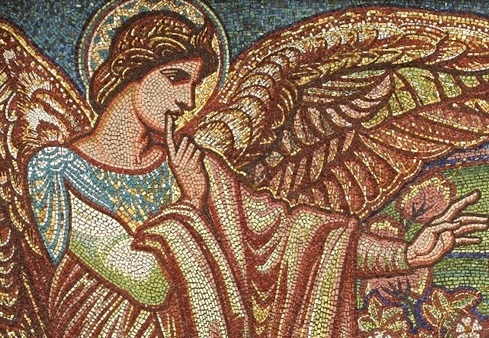 Angel of the Annunciation, after a design by William Blake Richmond, completed by 1896; St Paul's Cathedral, London