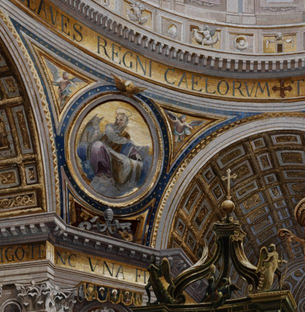 Detail: Augusto Moglia, Interior of St Peter's Basilica, Rome, 1899; 73.7x50.8cm (picture only)