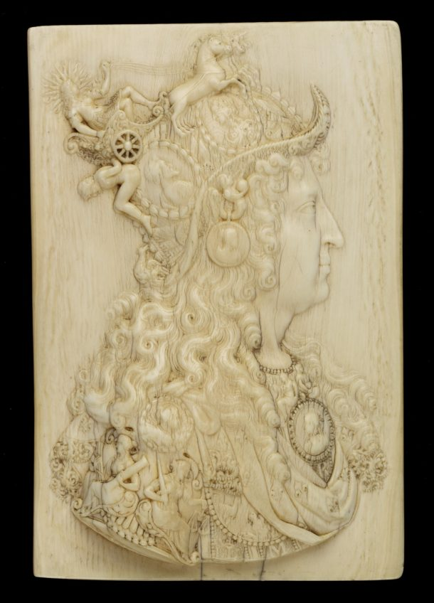 Relief, ivory, portrait of King Louis XIV of France, by Michel Mollart, France, before ca. 1683 10.2x7cm. Museum no. A.44-1935