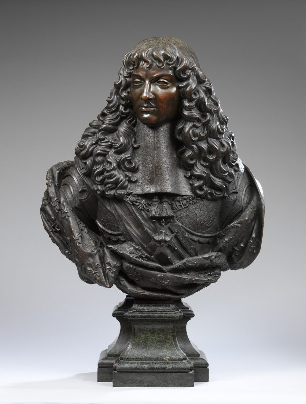 Bust of Louis XIV; bronze, French, about 1660. Given by Dr. W. L. Hildburgh, F. S. A., 1951. Museum no. A.54-1951