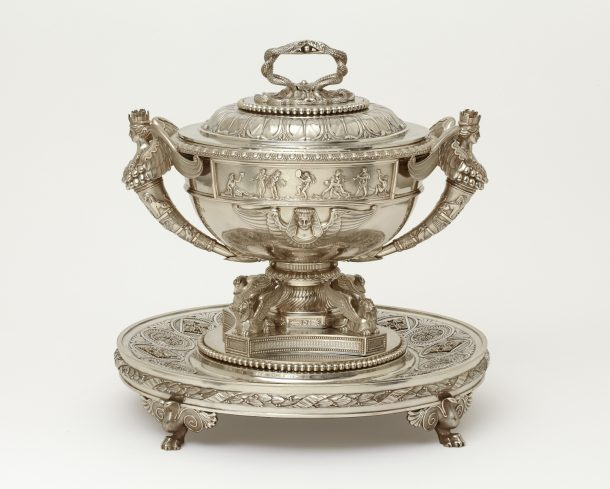 Soup tureen and stand, silver, London, 1806-7. Height 36.7 cm. Museum no. LOAN:Gilbert.786:1 to 3-2008