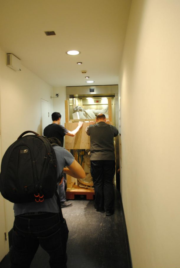 Moving the sculpture into a lift and to the Europe 1600-1815 gallery was a complex operation © Victoria and Albert Museum, London