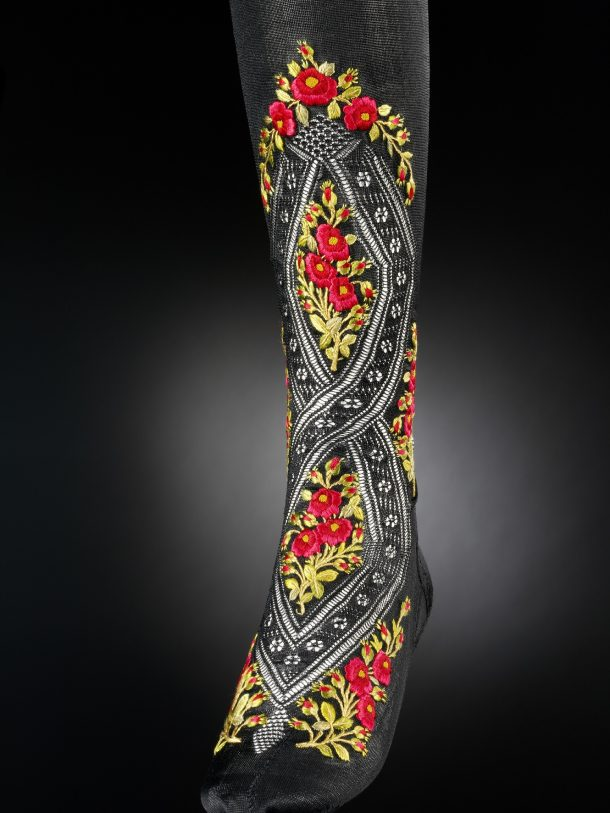 One of the stockings which made the cut - a pair worn by Princess Alexandra, c.1900. T.15&A-1956 © V&A Collection