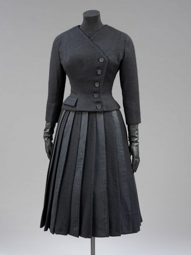 Wool suit with moiré silk panels, Givenchy, 1955. T.35:1, 2-2006 © V&A Collection