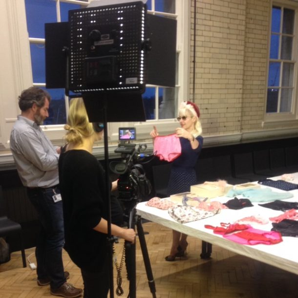 Fifi Chachnil holds up a pair of her classic bloomers during filming © Bridget Veal