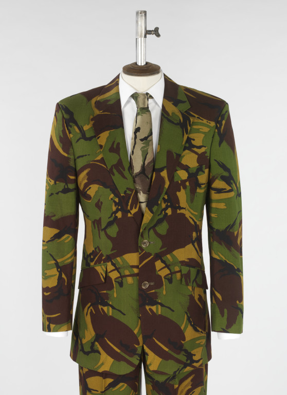 Man's suit, shirt and tie of camouflage printed cotton