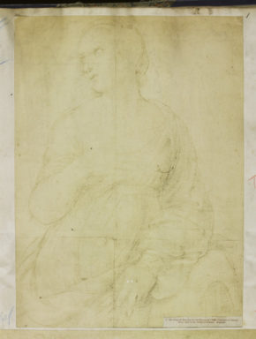 Guard book of the Photo Archive - Print No.1 : Original Drawing for the Picture of St. Catherine of Alexandria, by Raphael, now in the National Gallery, pencil drawing of a young woman in a low-cut dress, her right hand resting on her chest.