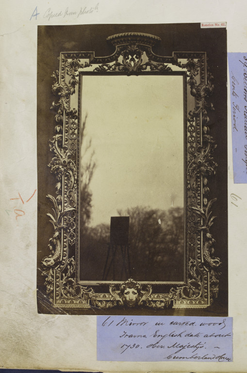Mirror in a carved wood frame, English; 1730, from Cumberland House.