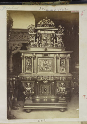 Photograph of Cabinet or chest with ornate cresting; carved wood; from the Soulages Collection; one of the earliest photograph of a Museum Object.