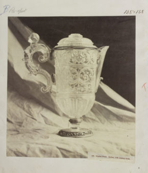 Crystal Ewer with a draped cloth background