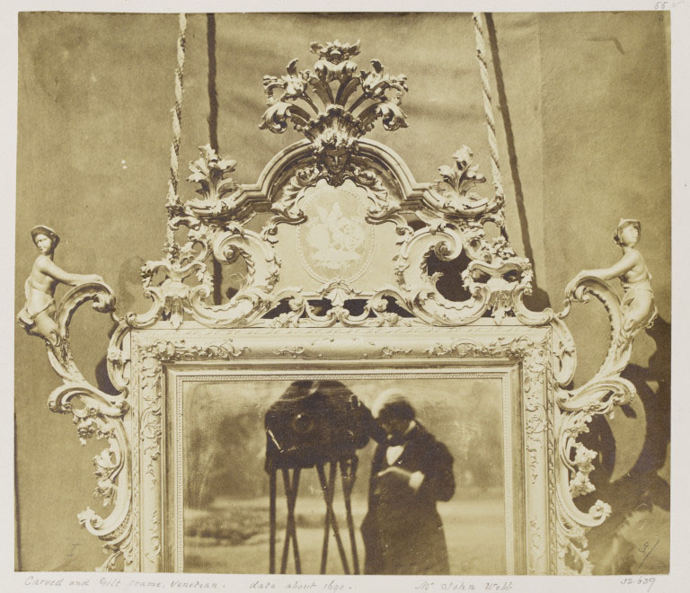 Mirror with carved & gilt frame, Venetian; by Charles Thurston Thompson (1816 - 68), Albumen Print; from the album, Furniture Exhibited at Gore House, Vol.2 by John Webb, 1853.