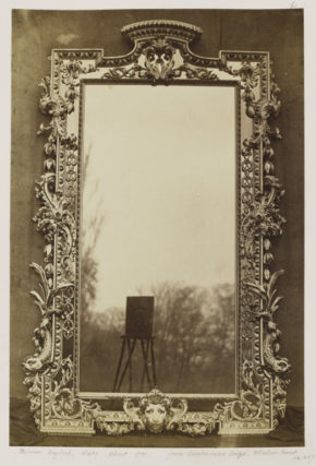 Mirror, English, c.1730, from Cumberland Lodge, Windsor Forest; by Charles Thurston Thompson (1816 - 68); from the album Furniture Exhibited at Gore House, Vol. II, albumen print, 1853.