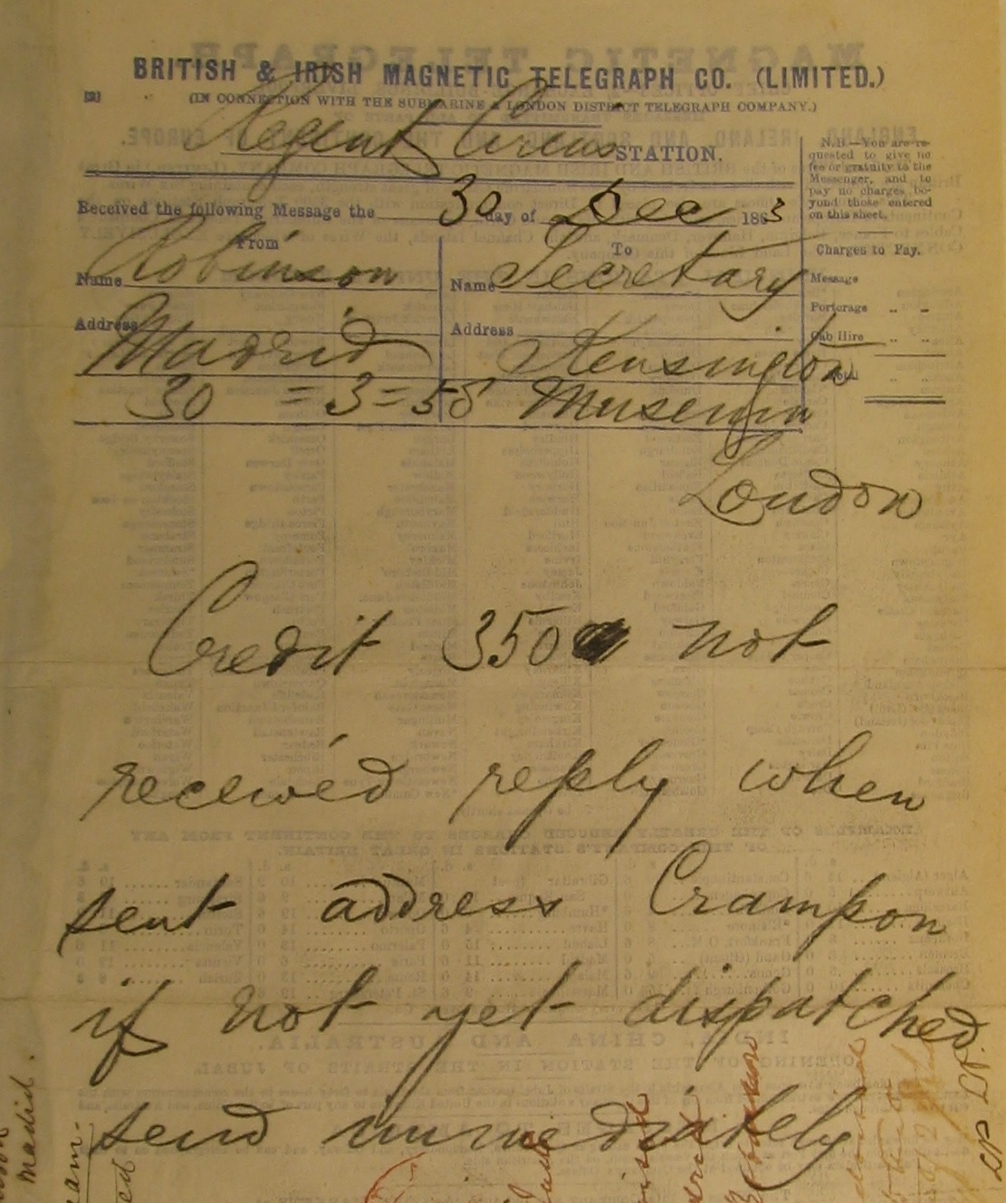 A telegram from John Charles Robinson requesting £350 be sent to Madrid (V&A Archive ref: MA/3/4; RP/1864/18) © Victoria & Albert Museum, London