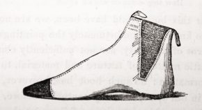 Sparkes Hall's drawing of his patented elasticated boot from Book of the Feet