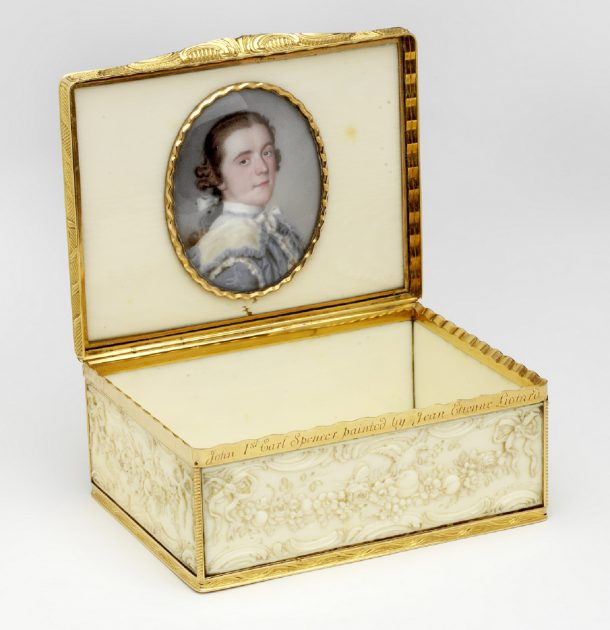 Gold-mounted ivory snuffbox with enamelled portrait miniature. Length 8cm, width 6.5cm, height 3.7cm. Inscription on the rim of the box: John the 1st Earl of Spencer. painted by Jean Etienne Liotard. Museum no. LOAN:GILBERT.408-2008