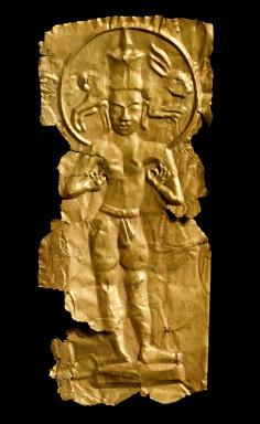 Plaque depicting a standing deity; gold repoussé, Thailand, about 600-700