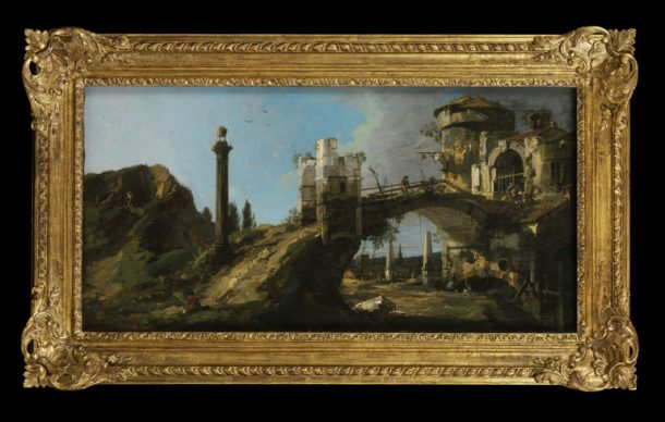 'Capriccio: Ruined Bridge with Figures', oil on canvas, Canaletto, 1745-46. V&A 1352-1869
