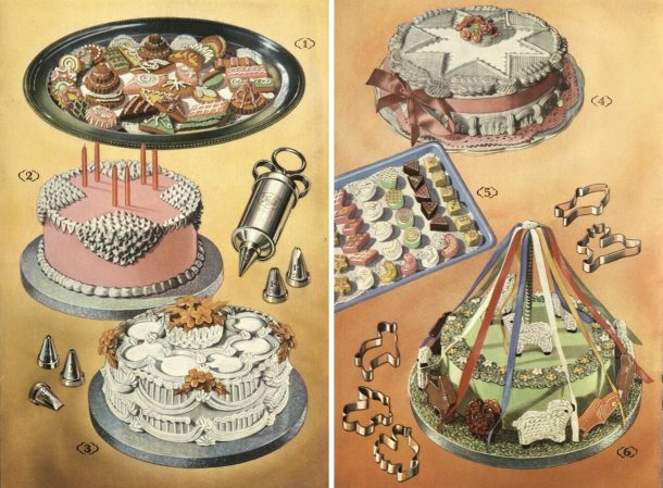 """Cakes, pp. 14-15 of """"How to Decorate a Cake: let Anne Anson show you"""", [195-?]"""