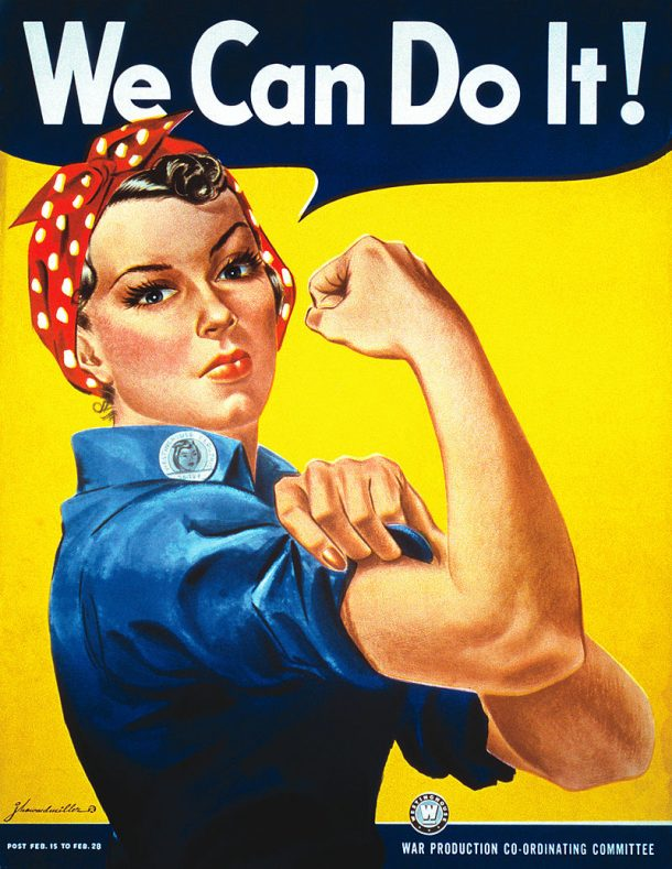 This famous image is actually of 'Rosie the Riveter'! Poster by J. Howard Miller, artist employed by Westinghouse, poster used by the War Production Co-ordinating Committee - From scan of copy belonging to the National Museum of American History,