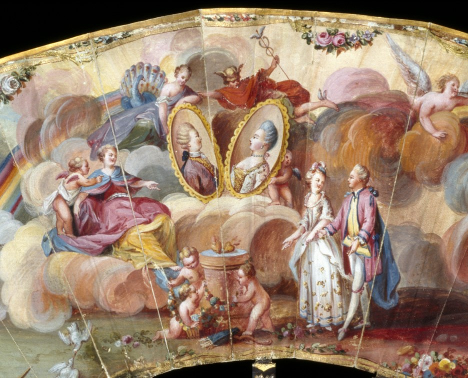 Detail of a fan depicting the Altar of Hymen. Gouache on vellum, France, 1750-60. V&A T.98-1956