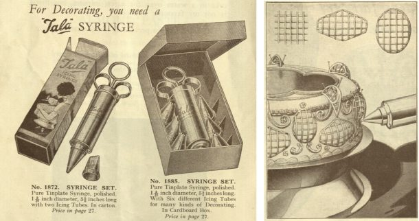 """Tala syringe sets p.6  and Net Designs p. 23 of """"Icing Art: how to ice and decorate cakes"""", 1937"""