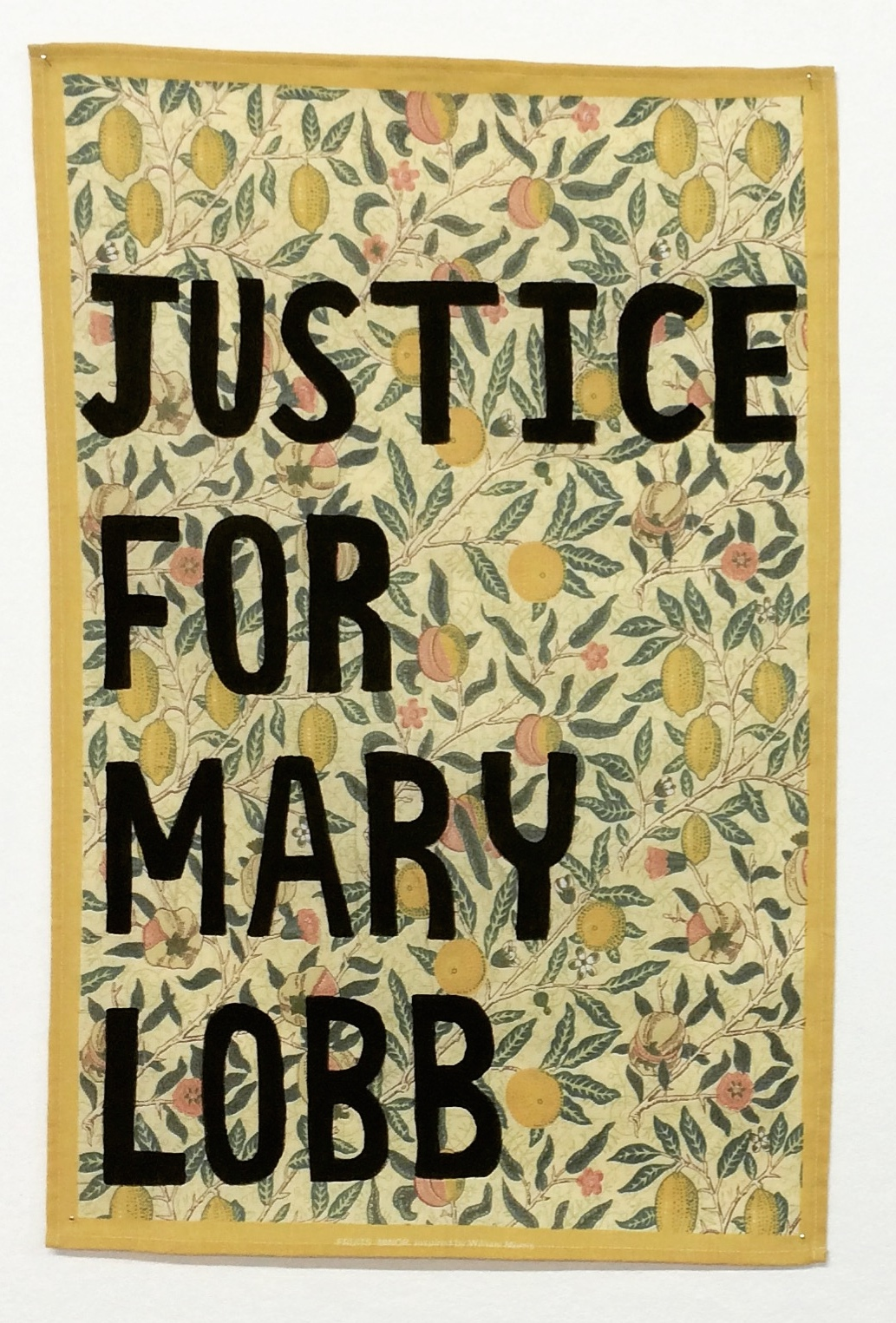 Protest tea towel in response to lesbian erasure in William Morris houses, Sean Curran